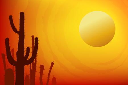 Sunset with Saguaro Cactus. Summer Vector background Stock Illustratie