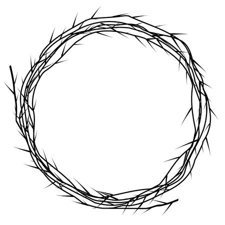 Corno di una spina. Elemento vettoriale in bianco e nero Vettoriali