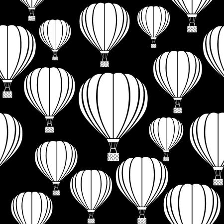 Aerostat balloon. Black and white vector pattern Stock Illustratie
