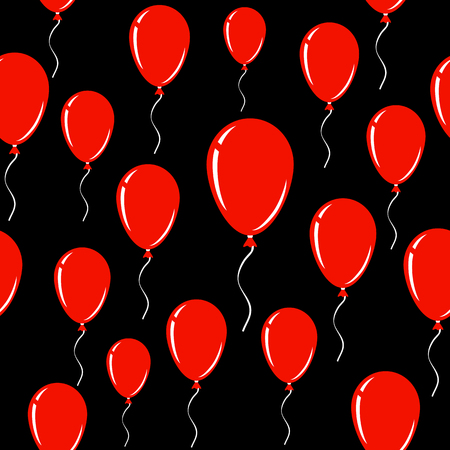 Red Balloon over black. Seamless vector background