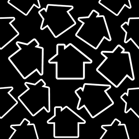 Black houses on a white. Seamless vector pattern