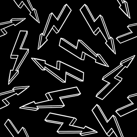 High voltage sign. Seamless black and white pattern