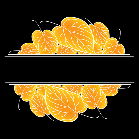 Yellow leaves. Black vector autumn background