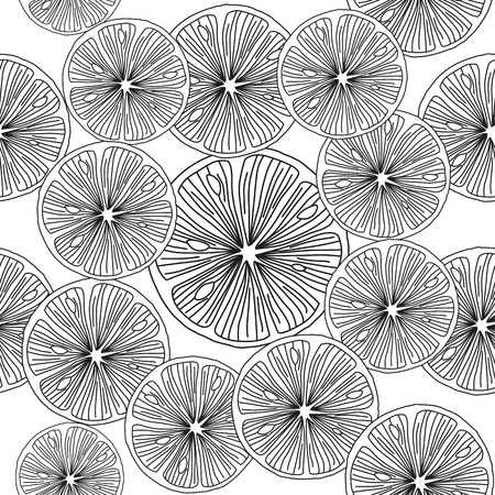 Sliced orange. Black and white Seamless Vector Background.