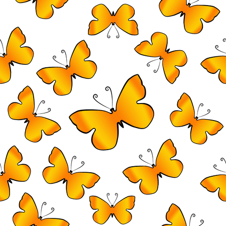 Orange butterflies over white background. Seamles vector pattern
