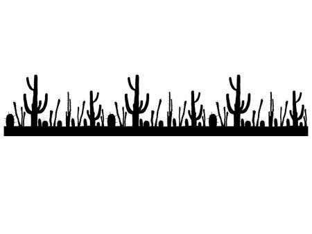 Seamless black and white stripe with cactus saguaro. Vector illustration
