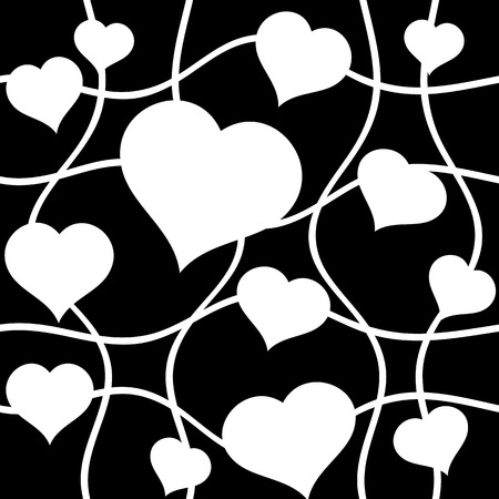 Abstract white hearts over black. Seamless vector background.