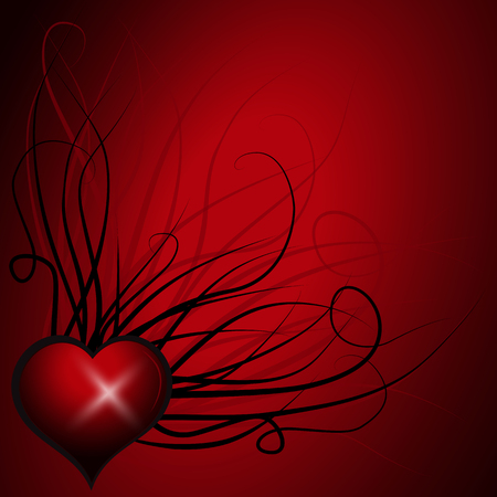Abstract heart over red. Colorful Vector Background