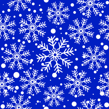 White snowflakes over blue. Seamless vector background