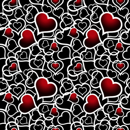 Abstract white and red hearts over black. Seamless vector background