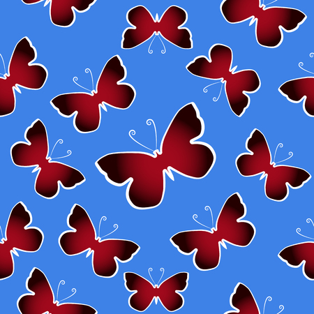 Red butterflies over blue sky. Seamles vector pattern