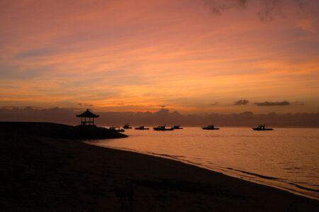sanur: sunset in sanur Stock Photo