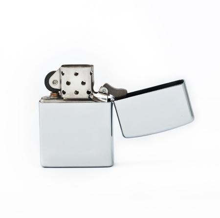gas lighter: A silver lighter