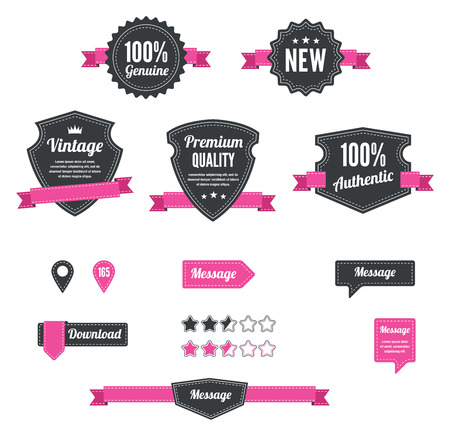 Retro and vintage badges in pink  イラスト・ベクター素材
