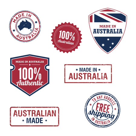 Australian stamps and badges Vector