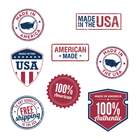 gemaakt: VS postzegels en badges