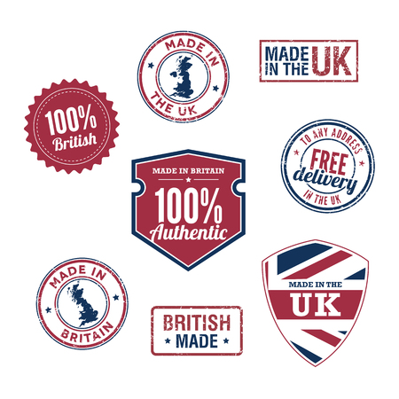 uk map: UK stamps and badges Illustration
