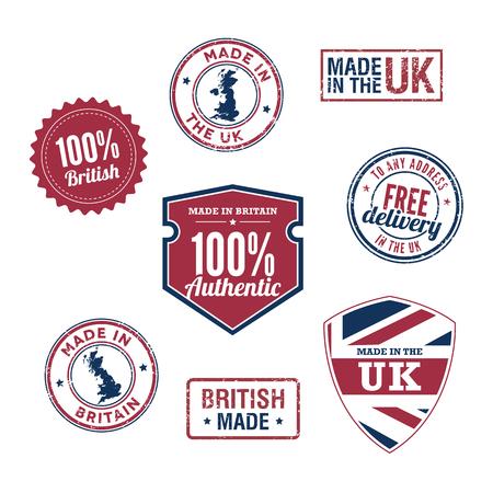 uk map: UK stamps and badges Illustration