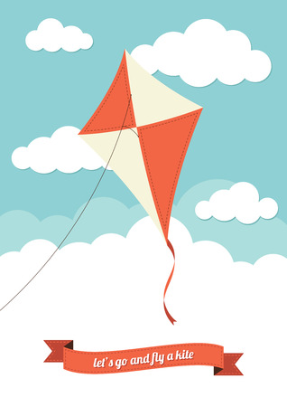 kite: Kite flying against a cloudy sky Illustration