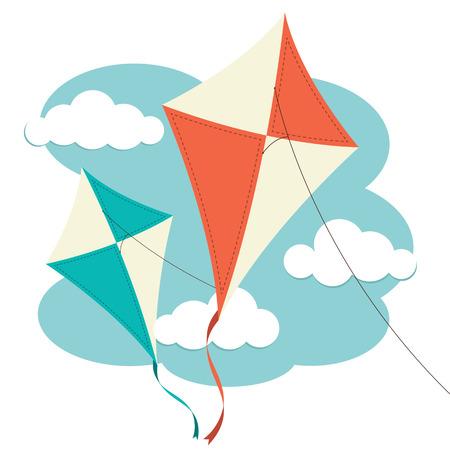 papalote: Cometas volando contra un cielo nublado