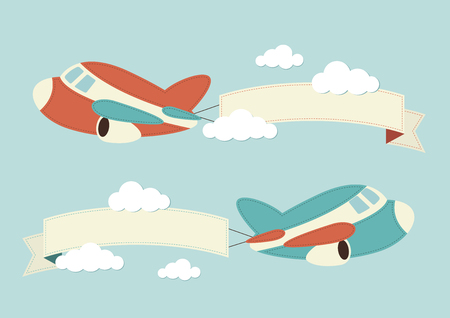 airplane wing: Planes in the clouds with banners Illustration