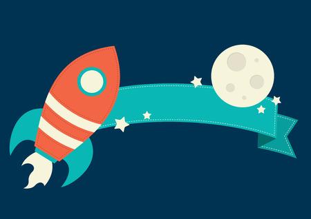 booster: Rocket y la luna con la bandera Vectores