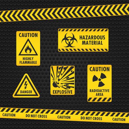 Attention danger de bandes et étiquettes Vecteurs