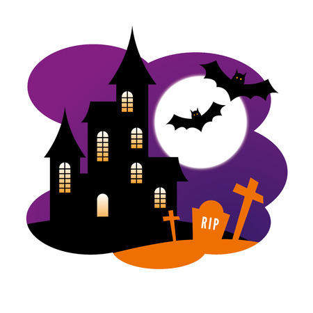 haunt: Halloween Design with a haunted house and bats