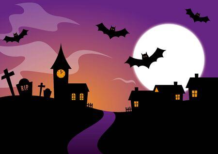 churchyard: Halloween Design with bats and a graveyard Illustration