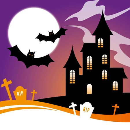 haunted house: Halloween Design with a haunted house and bats