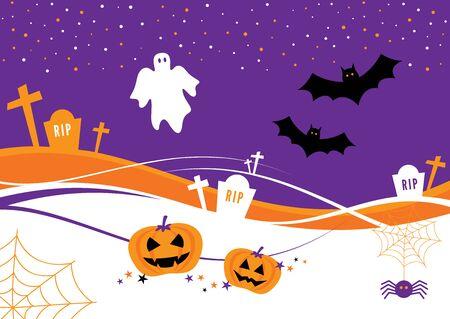 calabazas de halloween: Dise�o de Halloween con calabazas, murci�lagos, l�pidas y un fantasma Vectores