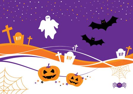 halloween cartoon: Halloween Design with Pumpkins, bats, tombstones and a ghost