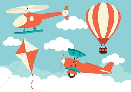 ヘリコプター、飛行機、凧 & 熱気球  イラスト・ベクター素材