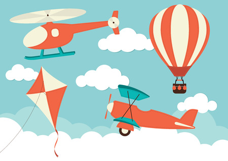 air travel: Helicopter, Plane, Kite & Hot Air Balloon