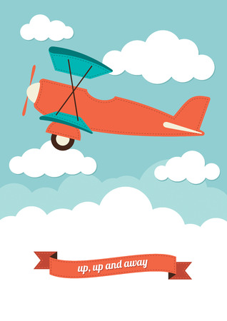 Illustration of a biplane in the clouds Ilustração