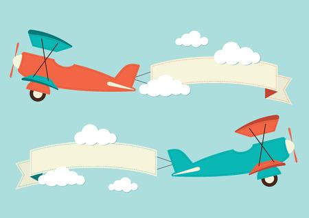 avion caricatura: Ilustraci�n de un biplano con banners Vectores