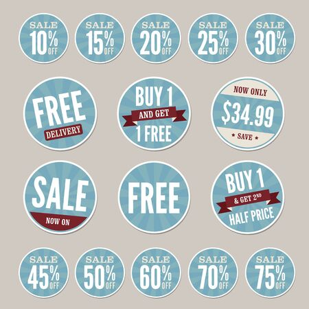 blue buttons: Vintage Retail Stickers