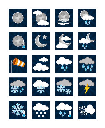 breezy: Stock Vector Illustration: Weather Icons - Night Illustration