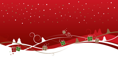 festive pattern: Christmas background with trees and gifts