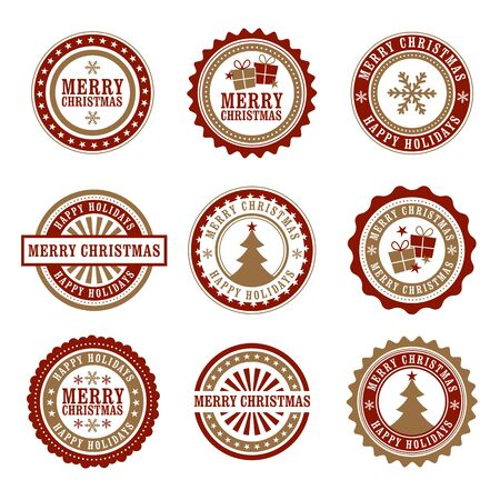 seal stamp: Christmas Badges Illustration