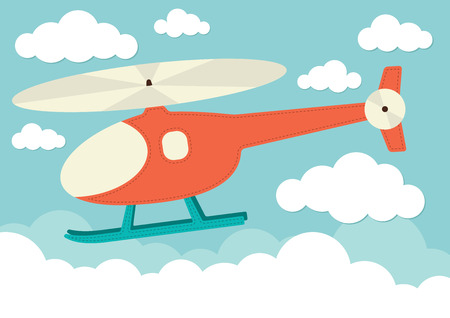 Illustration of a helicopter in the clouds