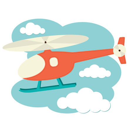 雲の中のヘリコプターのイラスト