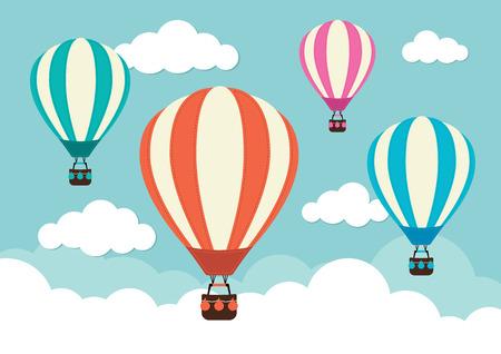 뜨거운 공기 풍선과 구름 일러스트