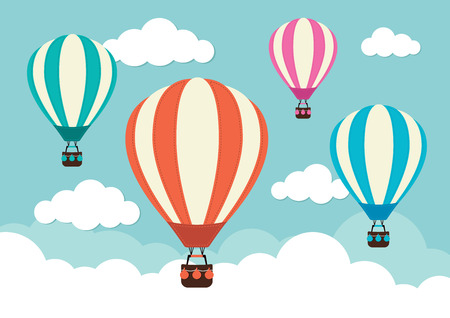 air travel: Hot Air Balloon and Clouds
