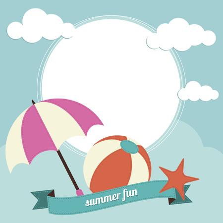 sun umbrella: Beach ball and sun umbrella with text box
