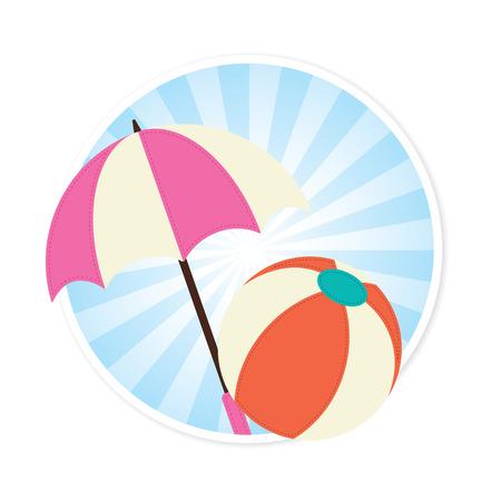 sonnenschirm: Wasserball und Sonnenschirm Illustration Illustration