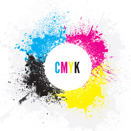 cmyk abstract: CMYK Paint Splatters