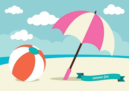 beach umbrella: Beach Ball and Sun Umbrella Illustration