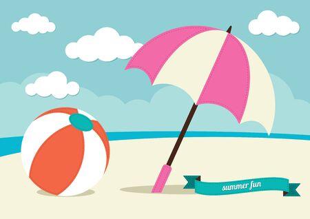 sun umbrella: Beach Ball and Sun Umbrella Illustration