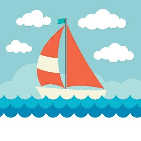 波に帆船  イラスト・ベクター素材